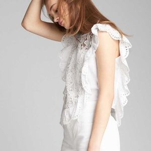 Gap Eyelet Flutter Sleeve Top